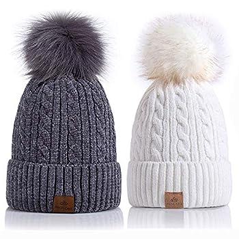 PAGE ONE Women Winter Pom Pom Beanie Hats Warm Fleece Lined,Chunky Trendy Cute Chenille Knit Twist Cap/White+Dark Gray