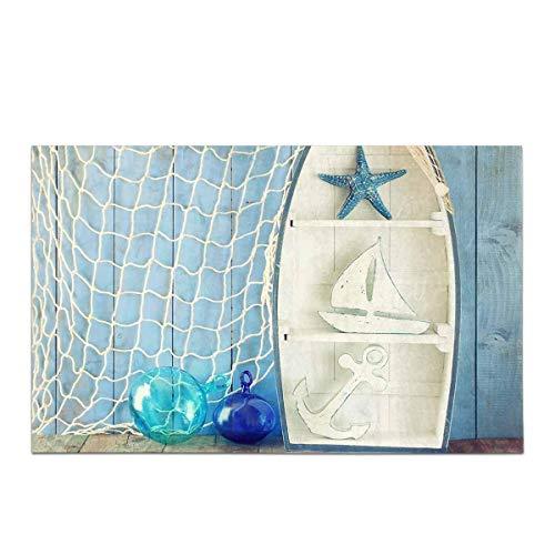 Kanaite Forma de Barco náutico Estantes en Mesa de Madera Decoración de la casa Alfombra Antideslizante Alfombra de baño Alfombra de baño Absorbente Alfombrilla
