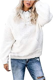 Meikosks Women's Plush Sweatshirt Long Sleeves Blouse Solid Pockets Tops Warm Pullover Shirt