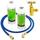 GOLDMAN SERVICE Kit Recarga de Gas Refrigerante para Aire Acondicionado + Válvula de Servicio + Manguera. Botella de Gas orgánico ecológico para Coches, frigoríficos.