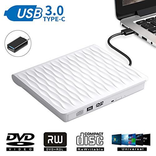 DANGZW Externes CD DVD Laufwerk, USB 3.0 Schlanker Tragbarer Externer CD DVD Brenner, High-Speed-Datenübertragung Optisches USB Laufwerk für PC Desktop/Laptop/Linux/MacBook/Windows 10/8/7/XP (Weiß)