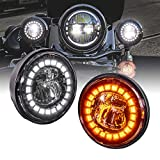 2pc Black 4.5' LED Passing Fog Lights for Harley Davidson Motorcycles [WHITE HALO DRL & AMBER Turn Signals] [Advanced Dual Fish-Eye Lens] [6500K Cold White] Driving Lamps for Harley Bikes