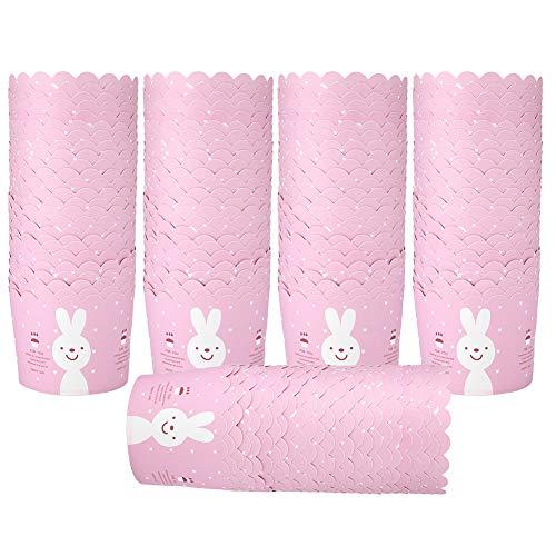 Changor Taza de Papel de la Torta Rosa, con cartulina Blanca 220 ℃ 7x6x5.5cm Tazas de horneado de Cupcake para la decoración de la Fiesta de la Fiesta de cumpleaños de la Boda