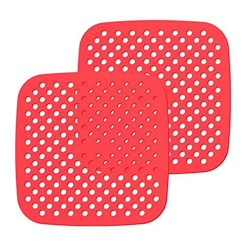 2 Stück Luftfritteusen-Einlagen, wiederverwendbar, antihaftbeschichtet, quadratisch, Silikon, Luftfritteusen-Zubehör für die Küche, Lebensmittel