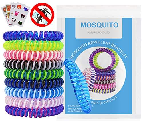 WEIXINHAI Repelentes de Mosquitos 10 Pulseras Antimosquitos & 20 Pegatinas Antimosquitos - No Contiene DEET, Set de Repelentes de Insectos, Ajustables para los Niños y Adultos