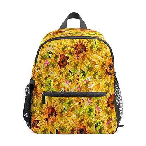 Mochila infantil para niños de 1 a 6 años de edad, mochila perfecta para niños pequeños a guardería, pintura a mano, girasol amarillo, S