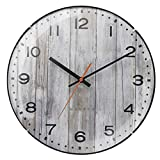 Creativo Reloj de pared, silencioso sin sonido, Forma redonda negra de 14 pulgadas, elegante retro, con batería, interiores de sala de estar adecuados Regalo ( Color : Light gray 12in , tamaño : A )