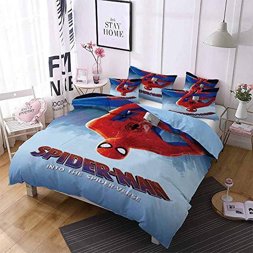 Juego de ropa de cama, Spider-Man, 1 funda nórdica y 2 fundas de almohada, 100% microfibra, ligero y transpirable (Spider-Man4, 140 x 210 cm + 50 x 75 cm x 2).