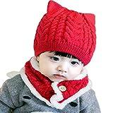 [ミャオッティ] ベビー帽 ネックウォーマー セット あったか ニット帽 耳付き 赤ちゃん 帽子 マフラー 6色 フリーサイズ SF396-R15-RD (レッド)