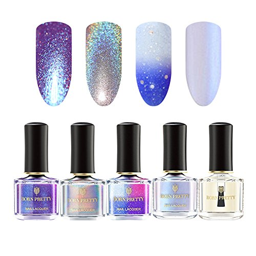 BORN PRETTY Nail Art Nail Polish Set - 4 Colors Collection Chameleon Pearl Color Changing Holographic Pearl Shell Glimmer Manicure 6ml