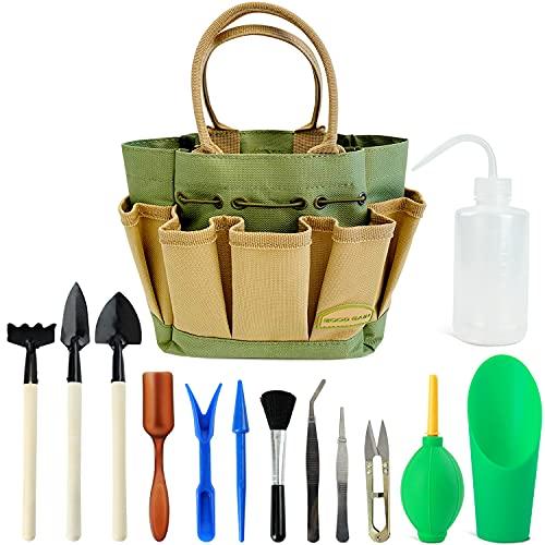 13 Pieces Succulent Kit with Organizer Bag, Indoor Mini Hand Gardening Tool Set, Gardening Kit for Bonsai Planter. Succulent Gifts, Bonsai Starter Kit, Succulent Watering, Bonsai Tool Kit. (Green)