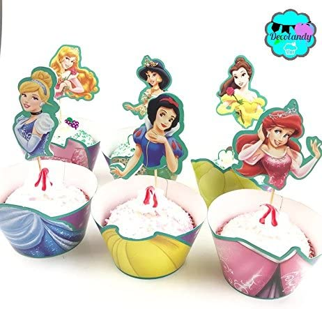 DECOLANDY 12 set Princess Cupcake wrappers and toppers Princess Party decoration product image
