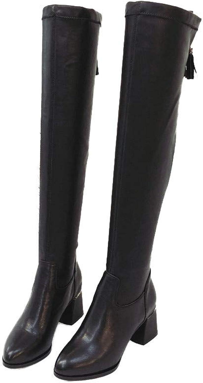 Shirloy High-End-Leder Damenschuhe Runde Kopf hochhackigen Knie elastische Stiefel Glamour Sexy Bequeme Frauen Stiefel