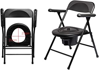 LZLYER Shower Chair Toilet Bathtub Commode Pan and Lid, Black, Bathroom Chair, Portable Folding Toilet Chair, with Backrest and Armrests, for Disabled Person, Elderly,Pregnant Women
