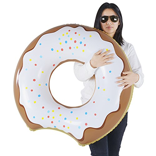 XFlated Donut Float, Inflatable Donut Pool Float Chocolate, Pool Beach Toy Kids, Donut Ring 33 Inches