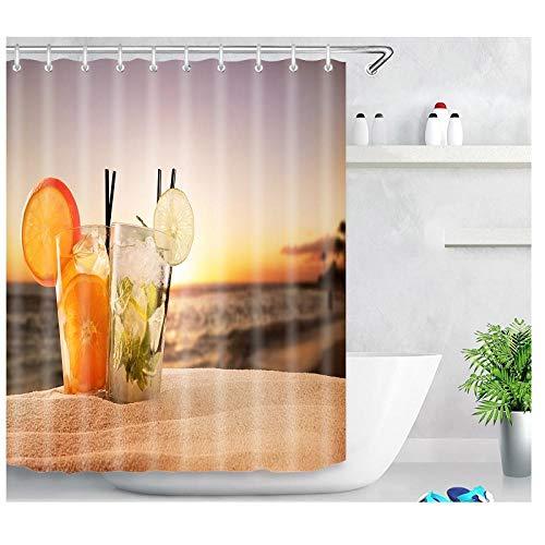 Sunset Beach Juice patrón de Vacaciones Material de protección del Medio Ambiente Cortina de Ducha de Inodoro Libre de contaminación-El 180x180cm Accesorio de baño Moderno para la Ducha