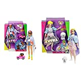 Barbie Extra Muñeca Articulada con Trenzas De Colores, Accesorios De Moda Y Mascota (Mattel Grn29) + Extra Muñeca con Pelo Rosado Y Violeta Incluye Mascota Y Accesorios (Mattel Gvr05)