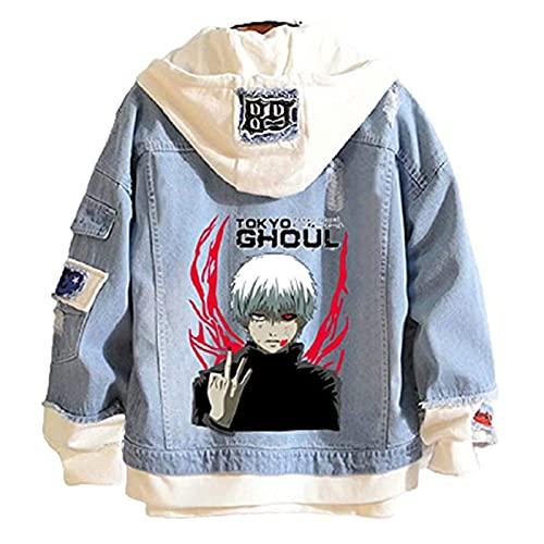 ZOSUO Unisex Tokyo Ghoul Chaqueta de Mezclilla Kaneki Ken Cosplay Sudadera con Capucha de Retazos Casual Prendas Denim Jacket,XL
