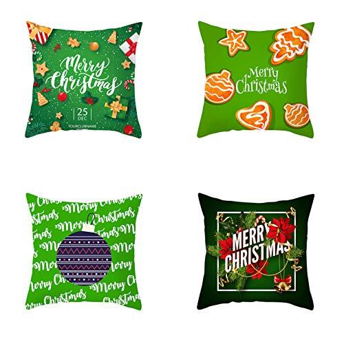 Set De 4 Navidades Fundas De Almohada,Navidad El árbol Y El Copo De Nieve,Sofá Cubierta De Cojín para El Hogar Navidad Favor