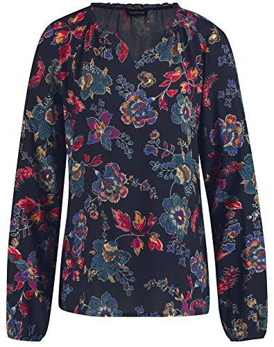 Taifun Damen Bluse mit Flower-Print leger, Gerade Navy Gemustert 42