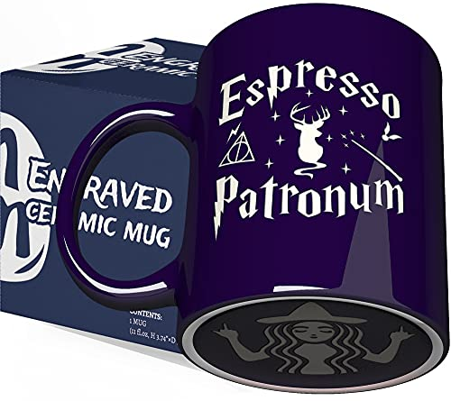 Engraved Ceramic Blue Coffee Mug - Espresso Patronum With Funny Bottom Design - 11 fl.oz - Inspirational and sarcasm Mothers Fathers Day Gift Cup for Bonus Grand Mom Dad