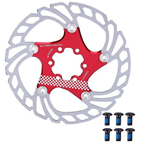 Jarchii Fahrradbremsscheibe, 180 mm leichte, hochharte, Starke und langlebige Fahrradbremsscheibe, für Mountainbike-Teile Fahrradzubehör Rennrad(Red+Silver)