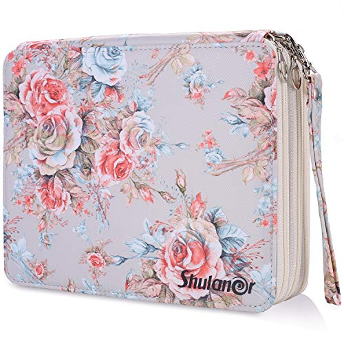 Shulaner 120 Slots Colored Pencil Case with Zipper Closure Large Capacity Champagne Rose Oxford Pen Organizer Flower Pencil Holder