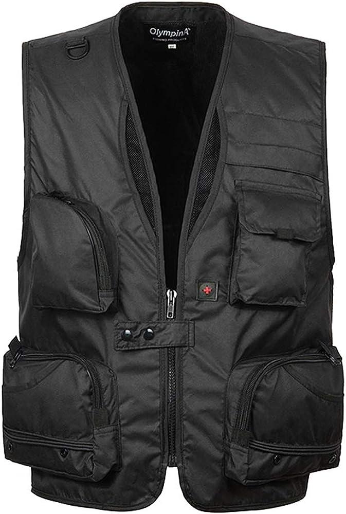 BOZEVON Men's Vest Coat - Multi-pocket Multi-function Gilet