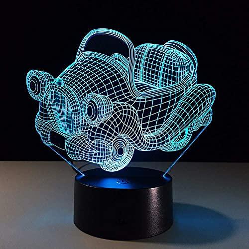 7 colores retro carrito giratorio 3D luz de noche reemplazo de tablero LED lámpara de escritorio 3D ilusión luz niño regalo