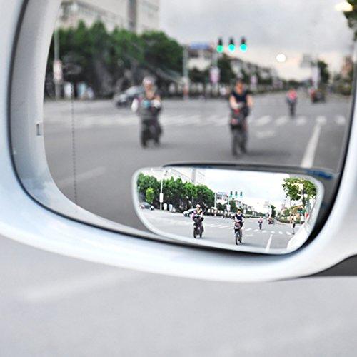 BEESCLOVER Ein Paar quadratischer, ungerahmter Spiegel zum Aufkleben auf Toten Winkel, rund, HD konvexer Rückspiegel für alle universellen Fahrzeuge, Autos,