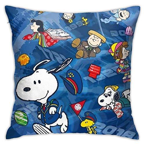 Throw Pillow Case Cruce De S-Noopy Tirar Almohada Cojin Exquisito Fundas Cojín Transpirables Funda De Almohada para Cojín para Oficina Familia Cámping 45X45Cm