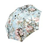 InterestPrint Vintage Flowers Windproof Auto Open and Close Foldable Umbrella, Beautiful Antique Floral Lightweight Portable Outdoor Sun Umbrella with UV Protection