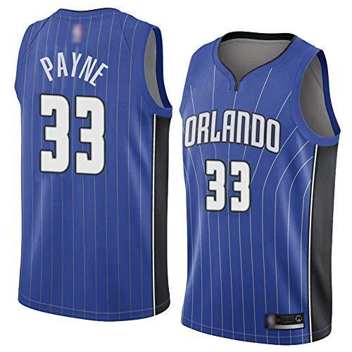 Orlando Magic # 33 ADREIAN Payne 2021 Ocio para Hombre NBA Basketball Fan Jersey Transpirable Quick-Secking Anti-Arrugas Camisa,Azul,M(170~175cm)