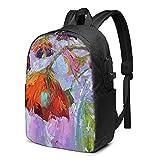 Mochila de pintura al óleo, mochila de viaje con puerto de carga USB para hombres y mujeres de 17 pulgadas - negro - talla única