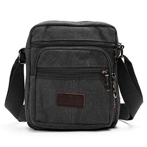 Herren Umhängetasche, JOSEKO Multifunktionale Canvas Messenger Schulter Tasche Crossbody Seitentasche mit Multi Taschen Schwarz