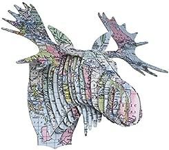 Vintage Map Prints Cardboard Moose Heads (World)