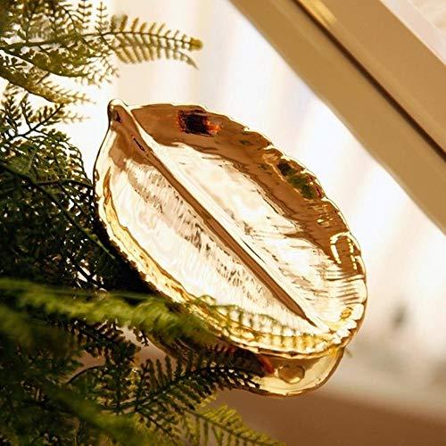WYCYZJ Woondecoratie Sieraden CD Opslag Keramische Schijf Sleutel Mobiele Telefoon Afstandsbediening Diverse Plaat Bladvormige Creatieve Woonkamer Decoratie Decoratie, 15cmx9cmx3cm