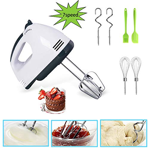 Electric Mixer Handheld 7-Speed Advantage Whisk Egg Beater with Two Balloon Whisks Two Dough Hooks/Egg Beater Portable 7 Speed Hand Mixers Eletric Handheld Kitchen Mixer Electeic Beaters