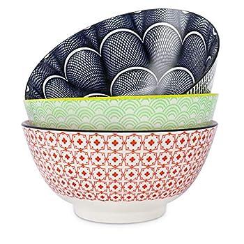 Salad Soup Ramen Bowl DeeCoo 55 OZ Super Large Stackable Round Fine Porcelain Cereal Pasta Serving Bowl Sets 3 Pack -Large Capacity Microwavable Ceramic Bowls - Heat and Cold Resistant Porcelain