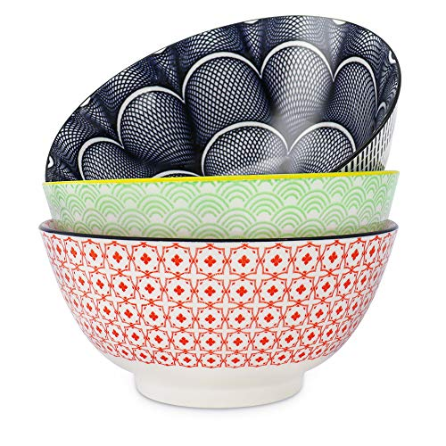 Salad Soup Ramen Bowl, DeeCoo 55 OZ Super Large Stackable Round Fine Porcelain Cereal Pasta Serving Bowl Sets, 3 Pack -Large Capacity Microwavable Ceramic Bowls - Heat and Cold Resistant Porcelain