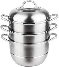 HRXD Steamer Pot, Home Kitchen 3-layer Stainless Steel Steamer Set, Outdoor, Gas Stove Cooker Universal Steamer Cookware