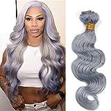 Tony Beauty Hair Brazilian Body Wave Silver Grey Weaves Human Hair Bundles Pure Gray Color Virgin Hair Extensions Wavy Grey Hair 1/2 Bundle Deals 10-30' (12inch 1pc)