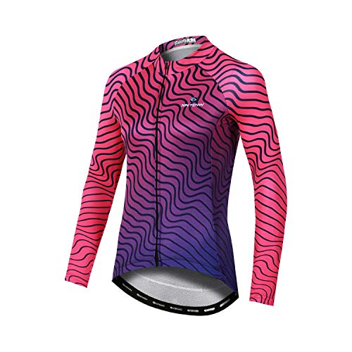 DuShow Long Sleeve Cycling Jersey Women Quick Dry Breathable Bike Jersey Full Zipper Bicycle Shirt Pink-L