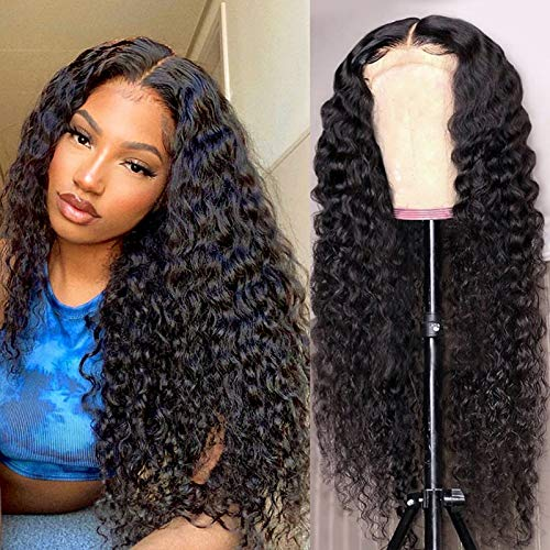 Lace Front Wigs Human Hair Deep Wave Frontal Wigs for Black Women 26 Inch 180% Density Brazilian Deep Wave Wigs Natural Hairline 10A Curly Human Hair Wig Glueless Pre Plucked With Baby Hair