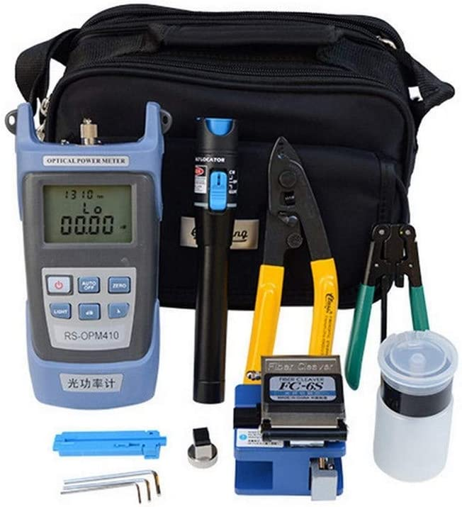 Kit de herramientas FTTH de fibra óptica con conector de fibra óptica, incluye probador de cable de fibra óptica, localizador de fallos visuales, medidor de potencia óptico portátil