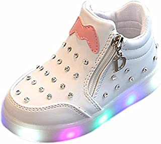 3116a325 Moonker Baby LED Shoes for 1-6 Years Old,Boys Girls Kids Zip Crystal