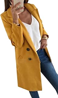 Women's Regular-Fit Winter Double Breasted Casual Lapel Wool Blend Pea Coat Trench Coat