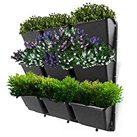"""Vertical Garden Wall Planter Kit- 19""""x19""""- 3 Clip & Create Modules-11 Unique Design Layouts-Vertical Gardening Kit Wall Mount Fits Any Space- Grow Flowers,Succulents,Vegetables, Herbs - Easy DIY 3 &#9989 VERTICAL GARDEN HANGING PLANTER: Preferred by Professional Landscape Gardeners for Commercial & Residential situations due to the versatility in design and the UV Resistant long lasting planters not drying out quickly like felt Vertical Gardens. Create the best beautiful green wall vertical garden. Perfect for Any Wall, Apartments, Condos, Patios, Courtyards & Balconies &#9989 VERTICAL GARDEN PLANTER OUTDOOR: Keep your green wall herb garden close by. Large pockets snap onto the frames and may be easily removed individually to bring indoors for harvesting &#9989 VERTICAL GARDEN KIT: 9 UV RESISTANT PLANTERS MEASURE 6"""" HIGH 5"""" DEEP 4 3/4"""" HIGH & 3 UV resistant frames measuring 18 1/2"""" high 6 1/2"""" wide that can be installed separately or interconnected. Each Frame holds 3 Planters. Screws, Wall plugs, instructions included."""