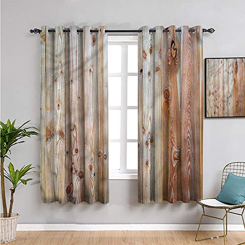 Xlcsomf rustic Kids curtain, Curtains 63 inch length wooden planks arrangement for Living Room or Bedroom W63 x L63 Inch