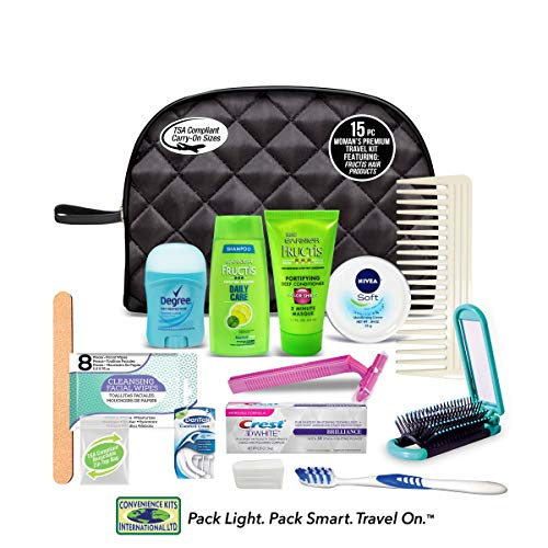 Convenience Kits International Women's Premium 15-Piece Assembled Kit with Travel Size Necessities, Featuring: Fructis Hair Products